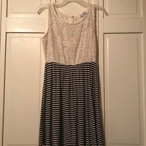 Striped/ lace dress